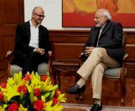 Microsoft CEO Satya Nadella and Prime Minister Narendra Modi in a meeting in New Delhi.