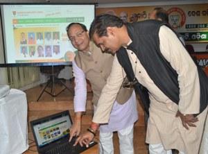 BJP Odisha pravari Arun Singh and state unit president KV Singhdeo launching the party's new website in  Bhubaneswar on Sunday (Pic: Biswaranjan Mishhra)