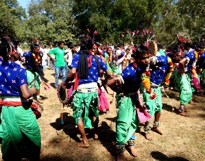 Tribals performing traditional dance at Adivasi Ekta Parab