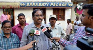 Cuttack Sadar tehsildar Abanikanta Patnaik announcing the take over to the media