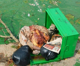 Body parts recovered in a trunk found floating in the Narendra pond in Puri on Wednesday morning (Pic: Biswaranjan Mishra)