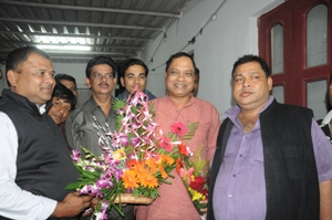 Prasad Harichandan being felicitated by party workers after being named PCC president on Monday