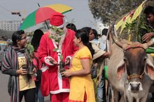 santa turns green
