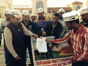 AAP Odisha burning Ordinance copy in protest
