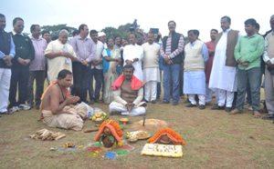 All india bjp president amit saha bhubaneswar unit6 re meeting re jogadebe ta purabaru bjp pakhyaru unit6ground re vumi puja karajauchi03