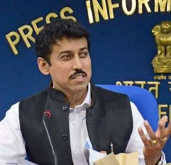 NEW DELHI, NOV 11 (UNI):- Minister of State for Information and Broadcasting Rajyavardhan Singh Rathore addressing a press conference after releasing the banner of 45th International Film Festival of India in New Delhi on Tuesday.UNI PHOTO-57u
