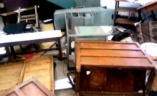 army men ransack police station