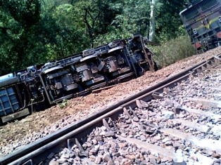 Derailed railway wagons