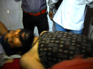 Santosh Singh Saluja at the Bolangir hospital