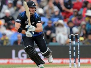 New Zealand's Corey Anderson runs after playing a cut shot against Sri Lanka during the opening match of the Cricket World Cup at Christchurch, New Zealand, Saturday, Feb. 14, 2015. (AP Photo/Ross Setford)