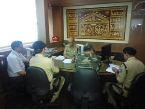 DGP Sanjiv Marik reviewing the Chief Minister's security at a high level meeting on Friday Pic: Biswaranjan Mishra