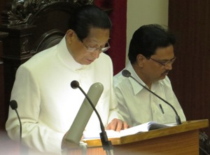 Pic: Governor SC Jamir addressing the Assembly on the first day of its budget session on Friday (Pic: Biswaranjan Mishra)