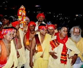 The Banajaga team on its way to Jagannath Ballav mutt in Puri. Pix: Biswaranjan