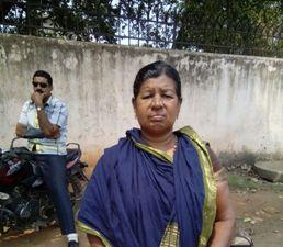 Azad's mother in front of the Jharpada jail in Bhubaneswar on Friday (Pic: Biswaranjan Mishra)