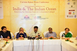 Union Minister Dharmendra Pradhan, the patron in chief, making the announcement about the three-day conference at a press conference in Bhubaneswar on March 7
