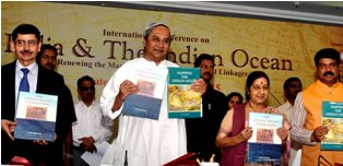 Smt. SushmaSwaraj, Hon?ble Minister for External Affairs, Government of India with  Naveen Patnaik, Hon?ble Chief Ministerof Odisha, and ShriDharmendraPradhan, Hon?ble Minister of State (Independent Charge) for Petroleum, Government of India Release Book international conference on India and the Indian ocean in Bhubaneswar on Friday