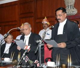 Justice Sujit Narayan Prasad being sworn in as additional judge of the Odisha High Court on Thursday (Pic: Biswaranjan Mishra)