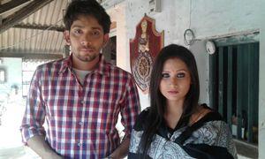 'Sahanai' actors Chinmay Mishra and Abhipsa Bhanja at the Lingaraj police station (Pic: Biswaranjan Mishra)