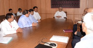 Chief Minister Naveen Patnaik discussing with CMD, RSP and Director XIMB the establishment of the second campus of XIMB at Rourkela at the Secretariat on Wednesday (Pic: Biswaranjan Mishra)