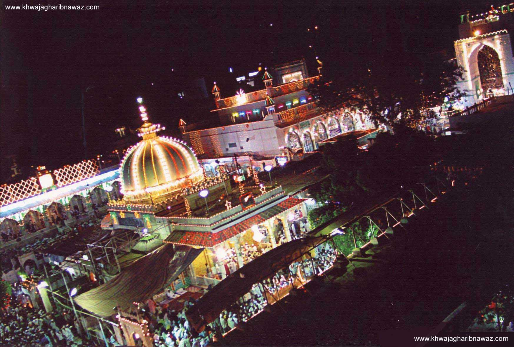 The Ajmer Sharif dargah all lit up for the annual urs (Pic: IANS)
