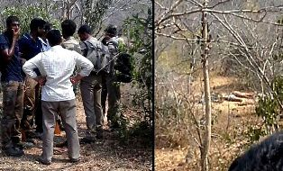 AP Police officials standing at the encounter site.  (pic: deccanchronicle.com)