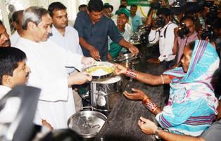 Chief Minister Naveen Patnaik at the launching of Aahar scheme in Bhubaneswar on April 1. Pic: Biswaranjan