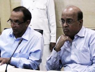 DGP Sanjeev Marik and chief secretary GC Pati at a meeting in Bhubaneswar.  Pic: Biswaranjan