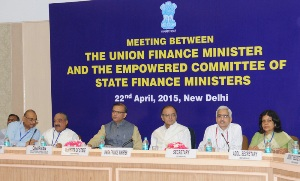 The Union Minister for Finance, Corporate Affairs and Information & Broadcasting, Shri Arun Jaitley chairing the meeting of the State Finance Ministers, in New Delhi on April 22, 2015. 	The Minister of State for Finance, Shri Jayant Sinha is also seen.
