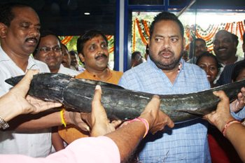 """Too small for me"", Agricullture & Fisheries minister Pradeep Maharathy seems to be saying after being offered a fish at the opening of the second 'Chilika Fresh' kiosk in Bhubaneswar on Sunday. BJD MLA Priyadarshi Mishra and BMC Mayor Ananta Narayan Jena look suitably amused (OST Photo)"