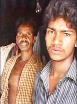 Kanhu (right) with his father Barun Behera