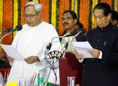 Naveen Patnaik being sworn in as Chief Minister by Governor SC Jamir on May 21, 2014