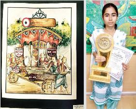 Sarifuna with her trophy (right) and her painting on Nabakalebara (left)