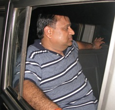 ARSS head Subash Agarwal being taken away by police after his arrest on Sunday in connection with the firing on senior Railway official Ajay Kumar on Saturday (OST Photo)