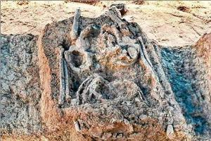 Skeletal remains of a man from Stone Age found at the site