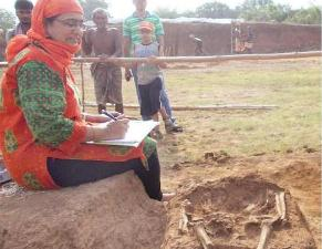 Eminent skeleton biologist Veena Mushrif-Tripathy at the excavation site at Talagada