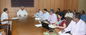 CHIEF MINISTER  SHRI NAVEEN PATNAIK REVIEWING ON ACTIVITIES OF SCHOOL & MASS EDUCATION DEPARTMENT AT SECRETARIAT ON 16-6-2015.