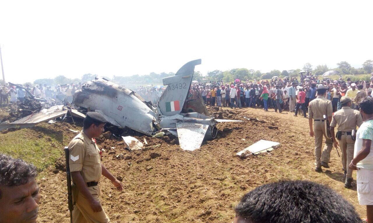 The IAF trainer aircraft that crashed near Bisoi on Wednesday Photo: OST