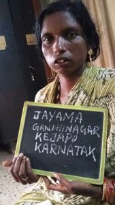 Jayamma, one of the eight women arrested by GRP on Saturday for involvement in the the begging racket (OST Photo)