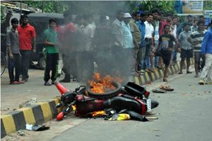 Aa bike belonging to a Congress activist was torched by angry residents in Shastri Nagar in Bhubaneswar