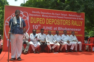 Soumya Ranjan Patnaik. Editor of 'Sambad' and advisor to the Manch addressing the rally of duped investors in Bhubaneswar on Wednesday afternoon (OST Photo)