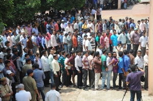 Students queue up at the CHSE headquarters in Bhubaneswar to get the result booklets of Plus Ttwo examinations (OST Photo)