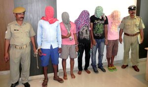 Three engineering students were among five persons arrested for vehicle theft in Bhubaneswar on Monday (OST Photo)