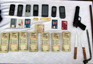 The cash recovered from the dacoits and weapons and other articles used in the robbery
