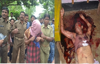(Left): Mamata Das being led away by police; (Right) Haribnadhu Das lying in a pool of blood (OST Photo)