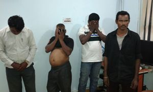 The four customers arrested during the raid (OST Photo)