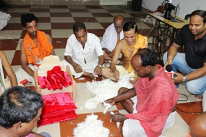 Mandi (pillow) and khatuli (bed) being prepared for the Brahma Parivartan of the deities on Monday night (OST Photo)