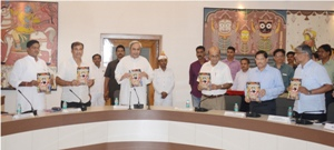 "Chief Minister Naveen Patnaik releasing a special issue of India Today ""A Nabakalebara' at the meeting of the state Tourism Promotion Council at the secretariat on Saturday. (OST Photo)"