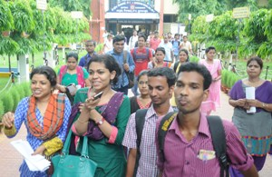 Students coming out of the Kendriya Vidyalaya in Bhubaneswar after appearing in the UGC NET test on Sunday (OST Photo)