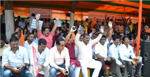 VHP activists on a dharna in front of Raj Bhavan in Bhubaneswar on Thursday