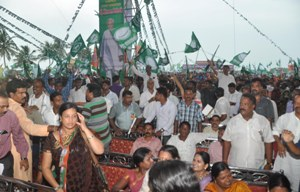 Competitive flag waving and slogan shouting by BJP and BJD workers marred the funection (OST photo)